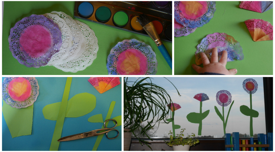basteln im kindergarten fr hlingsblumen aus tortenspitze. Black Bedroom Furniture Sets. Home Design Ideas