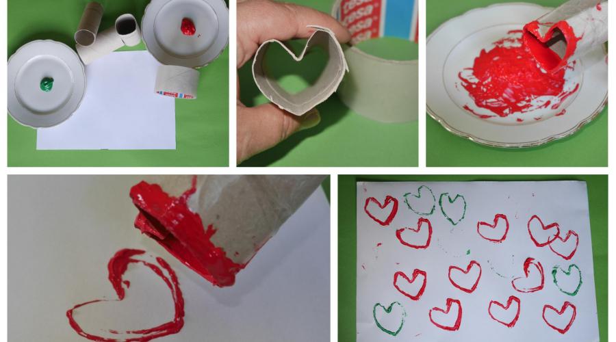 Fingerfarbe Weihnachten.Drucktechnik Herzen Mit Dem Klorollenstempel