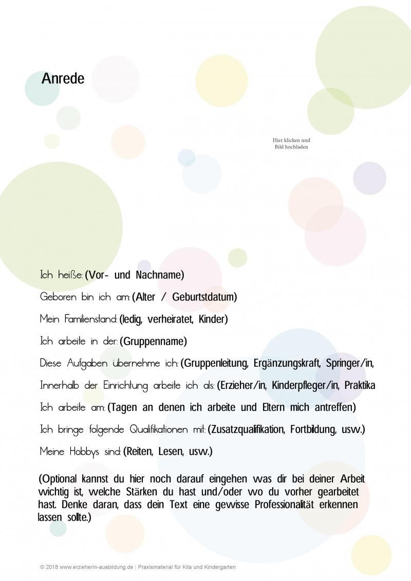 Der Kreative Steckbrief Fur Erzieher Im Kindergarten Vorlagen Und Muster